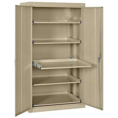 66 in. H x 36 in. W x 24 in. D Steel Heavy Duty Storage Cabinets with Pull-Out Tray Shelf in Tropic Sand