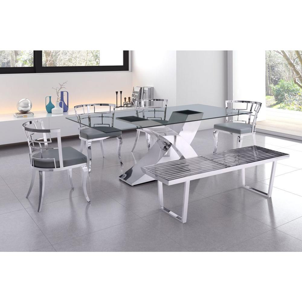 ZUO Quince White Stainless Steel Dining Chair (Set of 2)-100332 ...