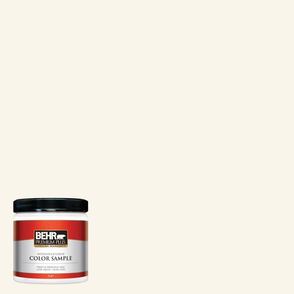 Behr premium plus 8 oz or w15 sleek white flat interior exterior paint and primer in one for Behr exterior white paint colors
