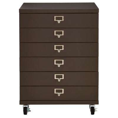 Becker 6-Drawer Gunmetal Metal Cart
