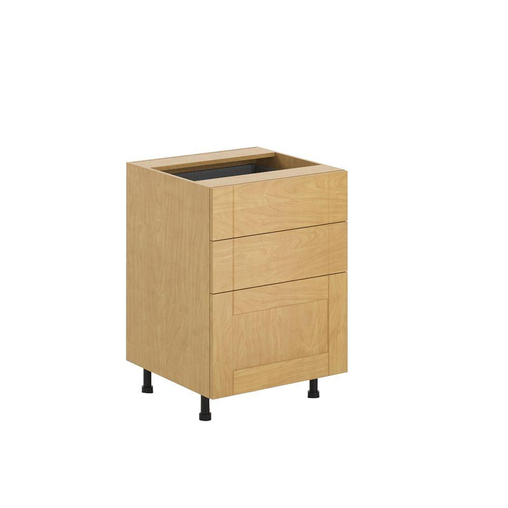 Ready to Assemble 24x34.5x24.5 in. Milano 3-Drawer Base Cabinet in Maple