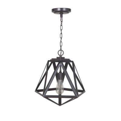 Hardwired Pendant Series 1-Light Brushed Bronze Pendant with Cage Shade