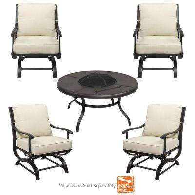 Redwood Valley 5 Piece Metal Patio Fire Pit Seating Set With Cushions  Included, Choose