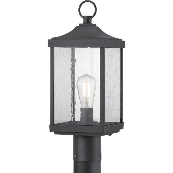 Park Court 1-Light Textured Black Outdoor Post Lantern with Clear Seeded Glass