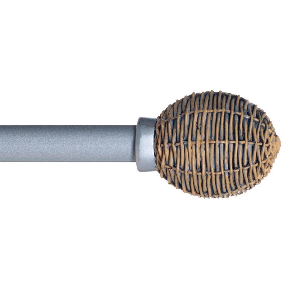 48 in. - 86 in. Telescoping 3/4 in. Curtain Rod in Silver with Basket Weave Finial