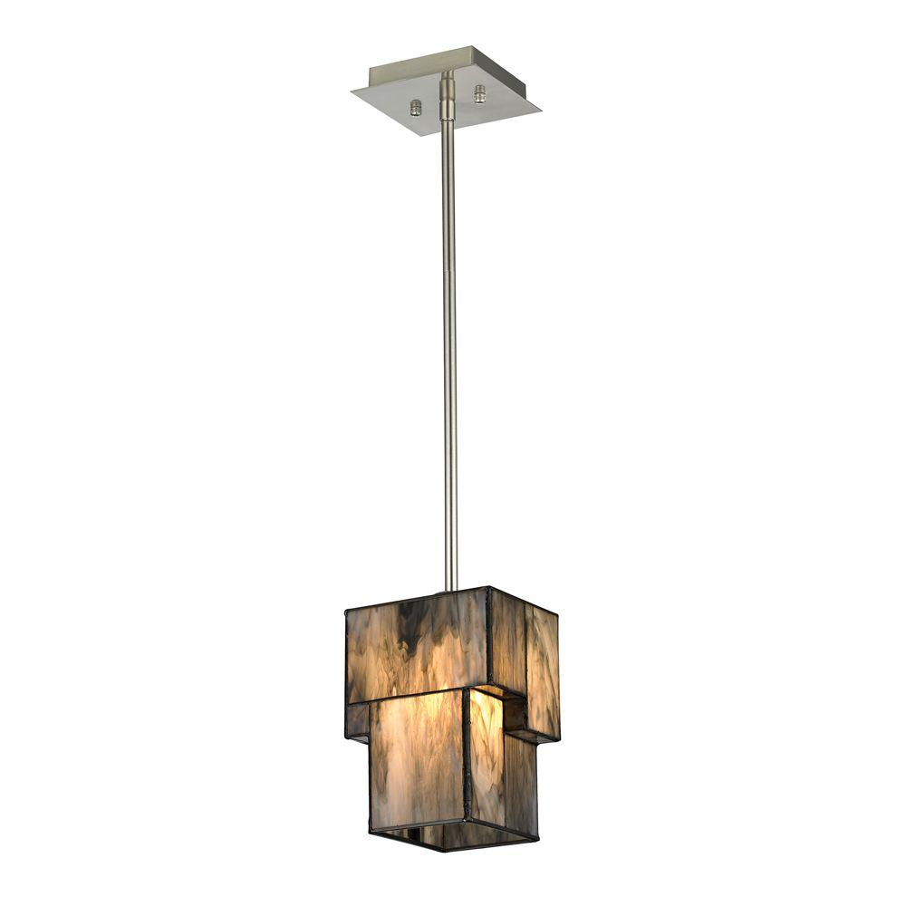 Adelaide Collection 1-Light Medium Oak and Satin Nickel LED Pendant