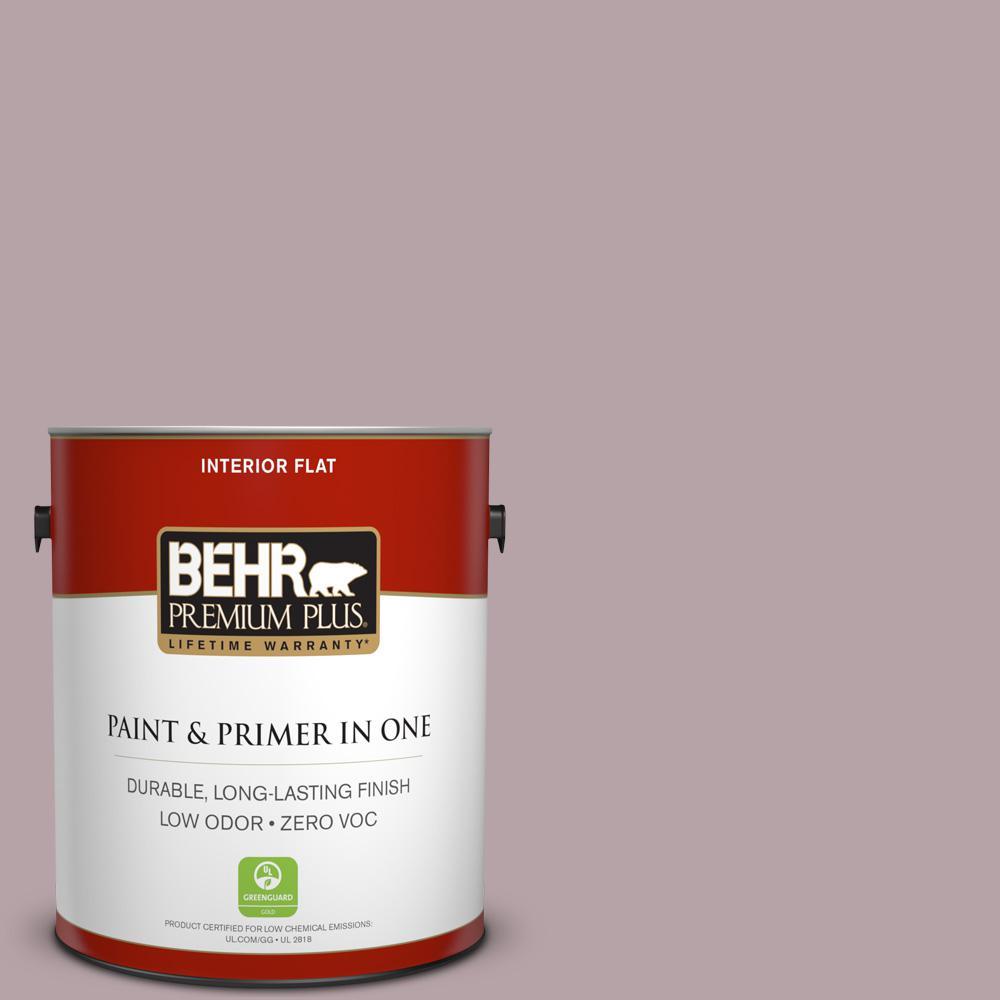 BEHR Premium Plus 1 gal. #100F-4 Dark Lilac Flat Zero VOC Interior Paint and Primer in One