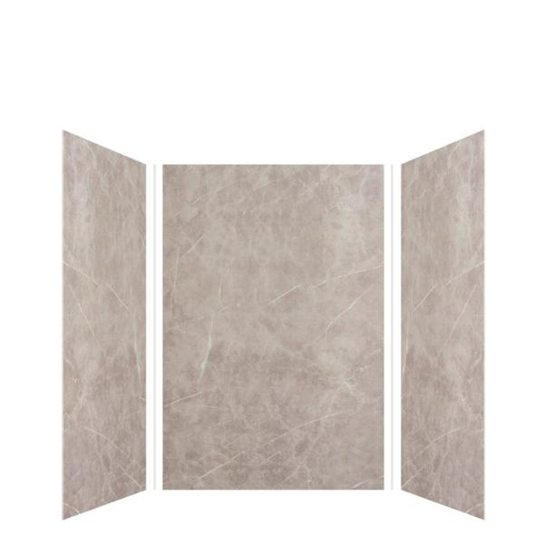 Expressions 48 in. x 48 in. x 72 in. 3-Piece Easy Up Adhesive Alcove Shower Wall Surround in Dover Stone