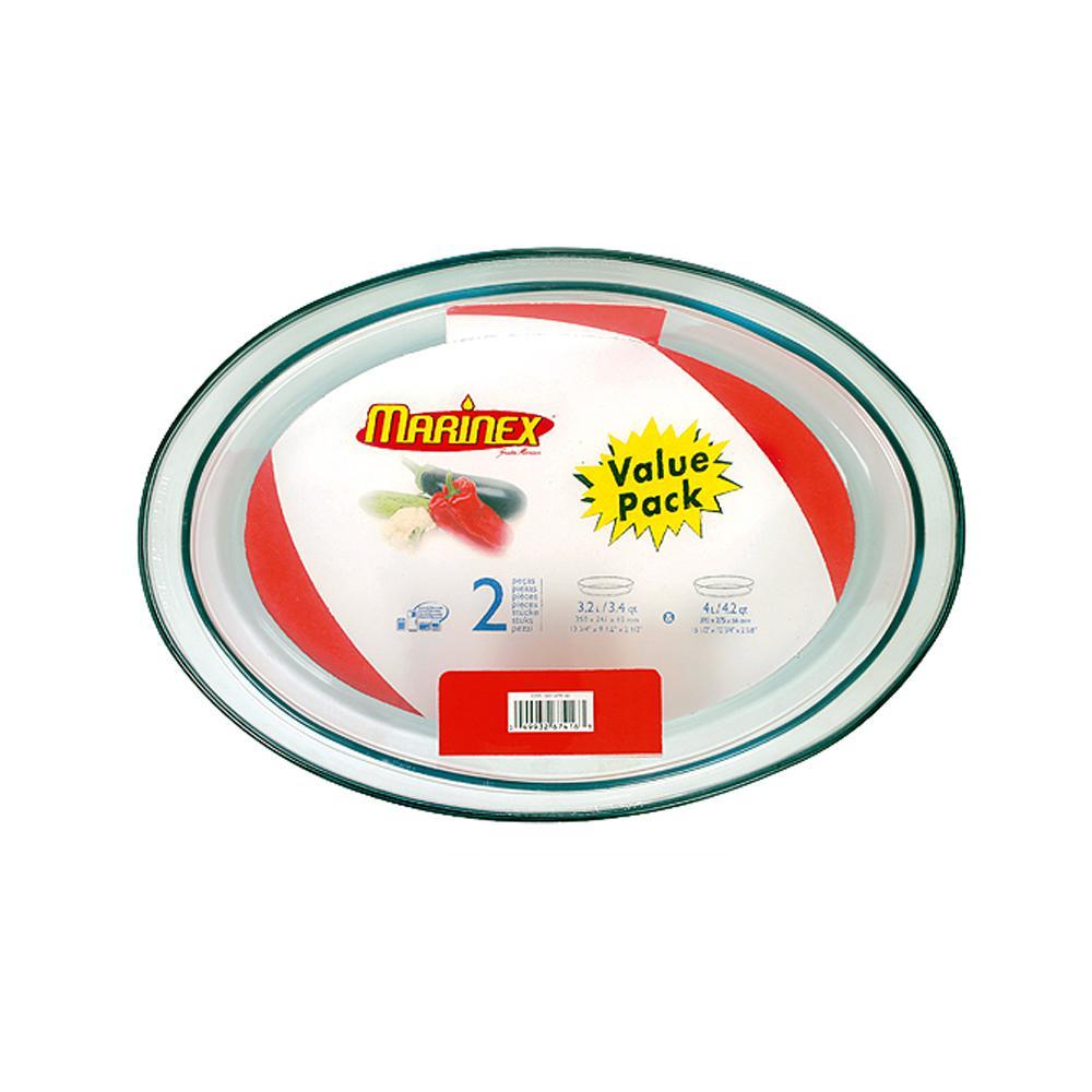 Marinex Terrina 2-Piece Oval Glass Roaster Set - Shrink Wrapped by Marinex