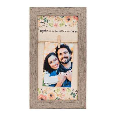 "Homespun Collection 4 in x 6 in Photos Barnwood Looking Frame ""Together is my Favorite Place"" Hanging Photo Frame"