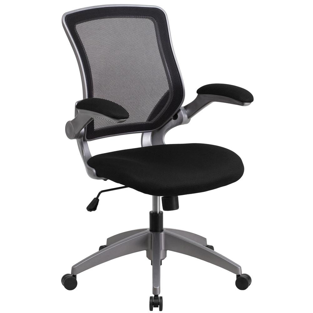 Flash Furniture Mid Back Black Mesh Swivel Task Chair With Gray Frame And  Flip