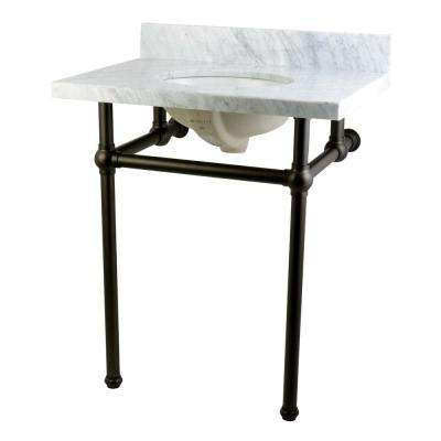 Washstand 30 in. Console Table in Carrara White with Metal Legs in Oil Rubbed Bronze