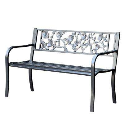 50 in. Flowers Curved Back Steel Park Bench