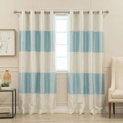 84 in. L Ivory and Sky Blue Faux Silk Striped Blackout Curtain (2-Pack)