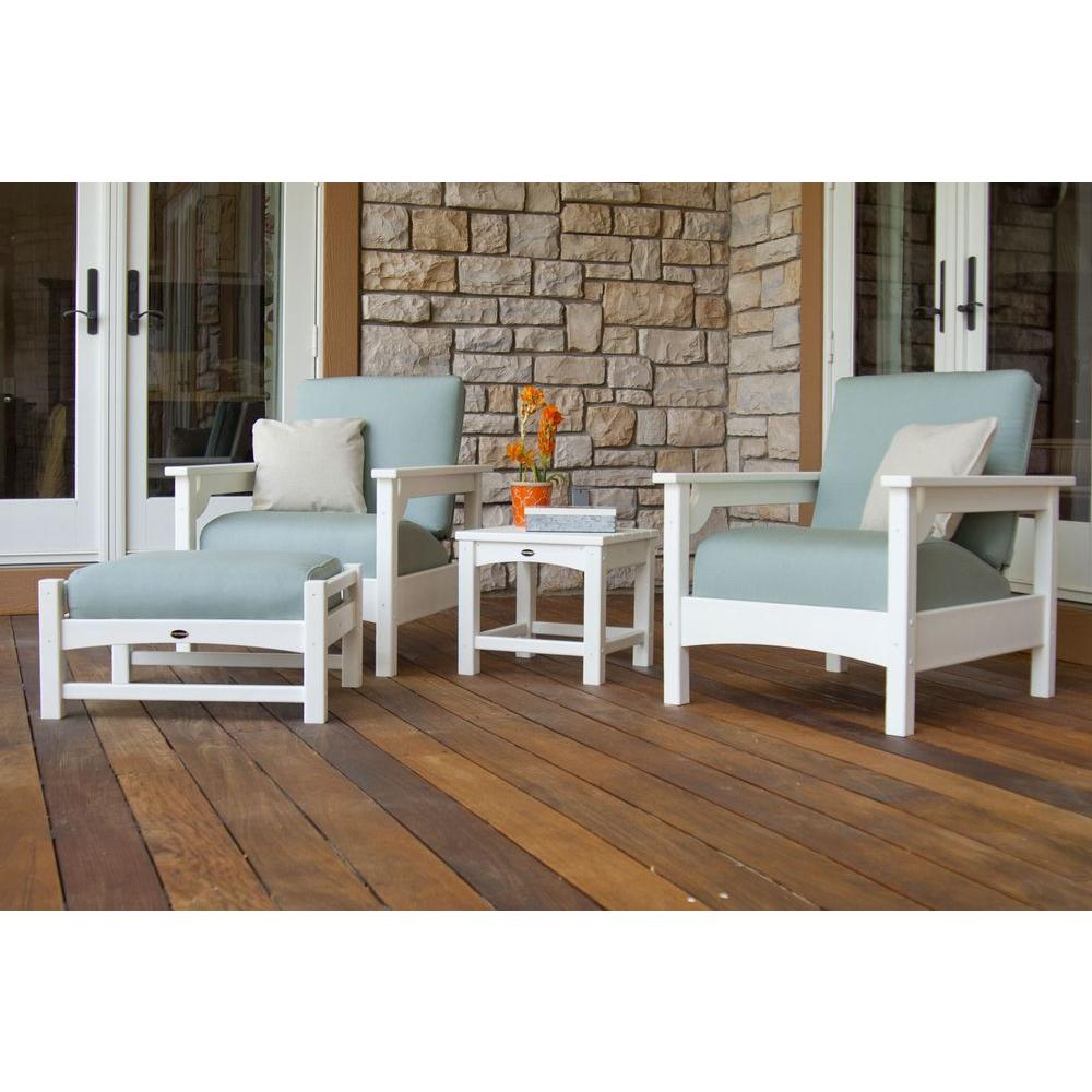 POLYWOOD Club White 4 Piece Deep Plastic Patio Seating Set With Sunbrella  Spa Cushions