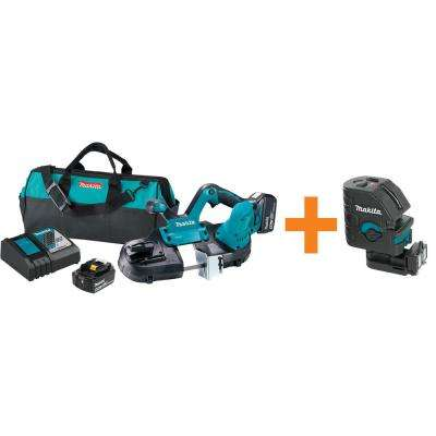 18-Volt 5.0Ah LXT Lithium-Ion Cordless Compact Band Saw Kit with Bonus Self-Leveling Cross-Line Laser