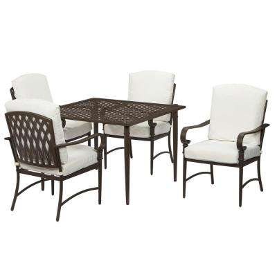 Oak Cliff  5-Piece Brown Steel Outdoor Patio Dining Set with Bare Cushions