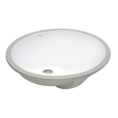 16 in. x 13 in. Oval Undermount Vanity Bathroom Porcelain Ceramic with Overflow in White