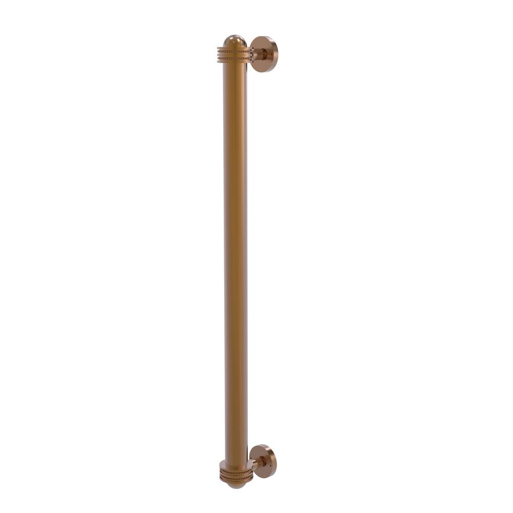 Allied Brass 18 in. Center-to-Center Refrigerator Pull with Dotted Aents in Brushed Bronze Transform your kitchen with this elegant Refrigerator and Appliance Pull. This pull is designed for replacing the pulls or handles on your built-in refrigerator, freezer or any other built in appliance. Appliance pull is made of solid brass and provided with a lifetime finish to insure products will provide a lifetime of service.