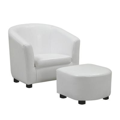 Jasmine White/ Black Armrests Media Chair