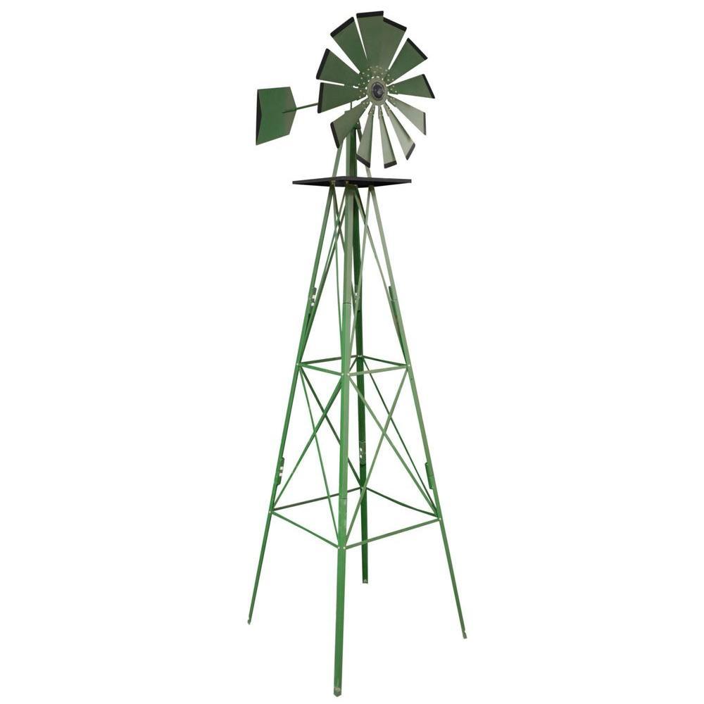 8 ft. Green Steel Classic Decorative Windmill