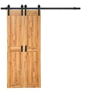 18 in. x 84 in. Pine Duplex MDF Barn Door with Sliding Door Hardware Kit