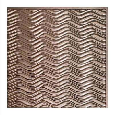 Current Horizontal - 2 ft. x 2 ft. Vinyl Glue-Up Ceiling Tile in Brushed Nickel
