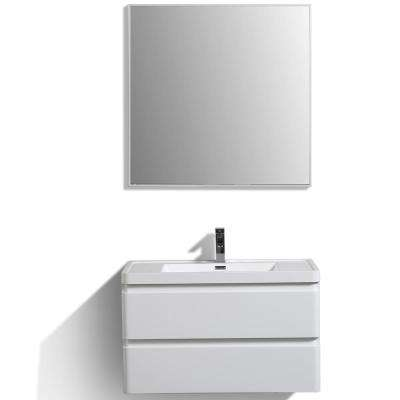 Glazzy 35.50 in. W x 17.50 in. D x 23 in. H Vanity in White with Acrylic Top in White with White Basin