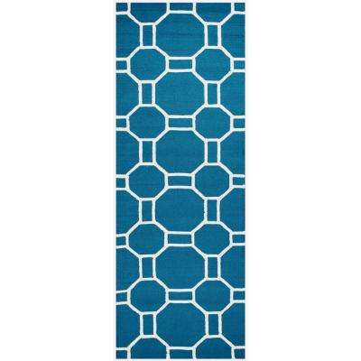 Azzura Hill Marine Blue Geometric 3 ft. x 8 ft. Outdoor Runner Rug