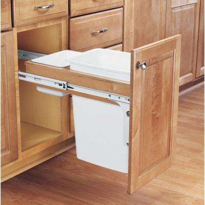 17.875 in. H x 11.5 in. W x 24.5 in. D Single Pull-Out Top Mount Wood and White Waste Container for 1-3/Face Frame