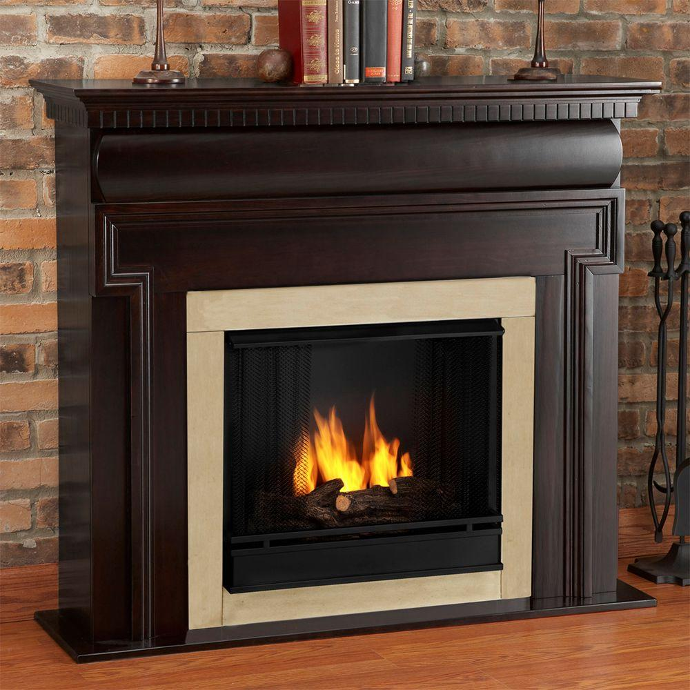 Real Flame Mt. Vernon 48 in. Gel Fuel Fireplace in Dark Walnut-DISCONTINUED