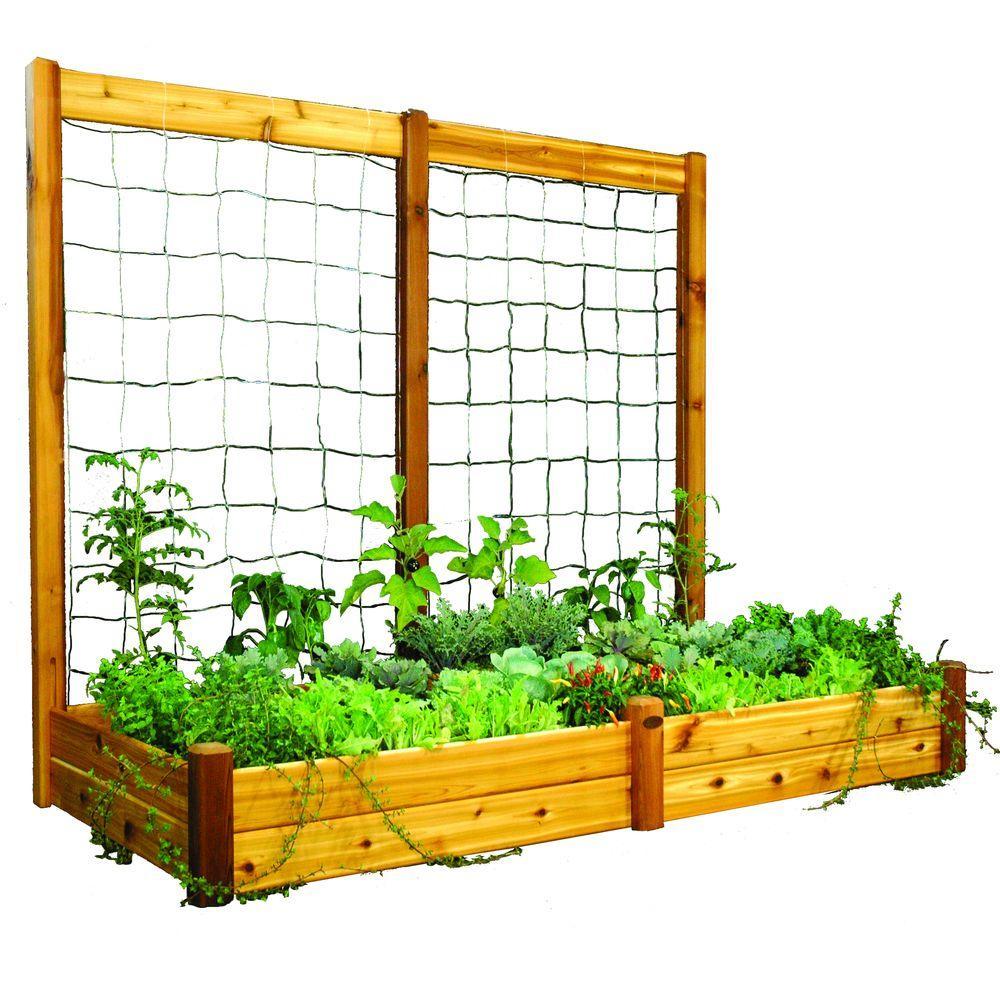 48 in. x 95 in. x 13 in. Raised Garden Bed with 95 in. W x 80 in. H Safe Finish Trellis Kit