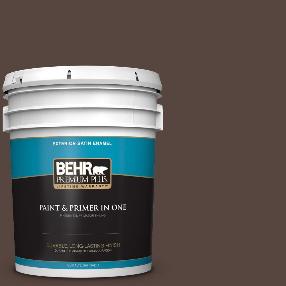 BEHR Premium Plus 5-gal. #PMD-91 Iced Espresso Satin Enamel Exterior Paint