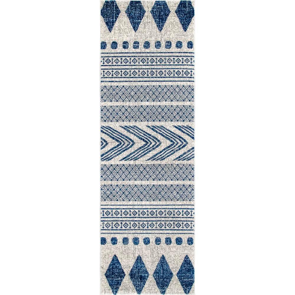 Shaina Tribal Blue 2 ft. 8 in. x 8 ft. Runner