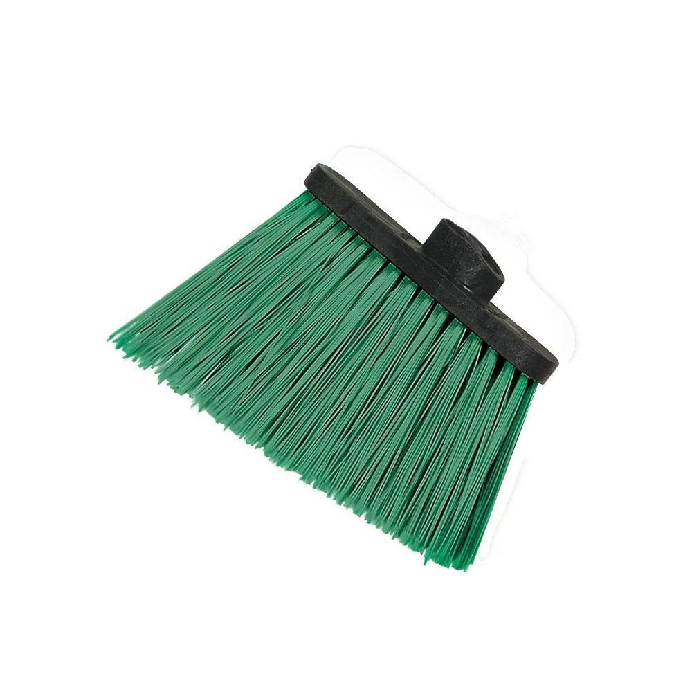 8 in. Flagged Angle Broom with 12 in. Flare Green Bristles