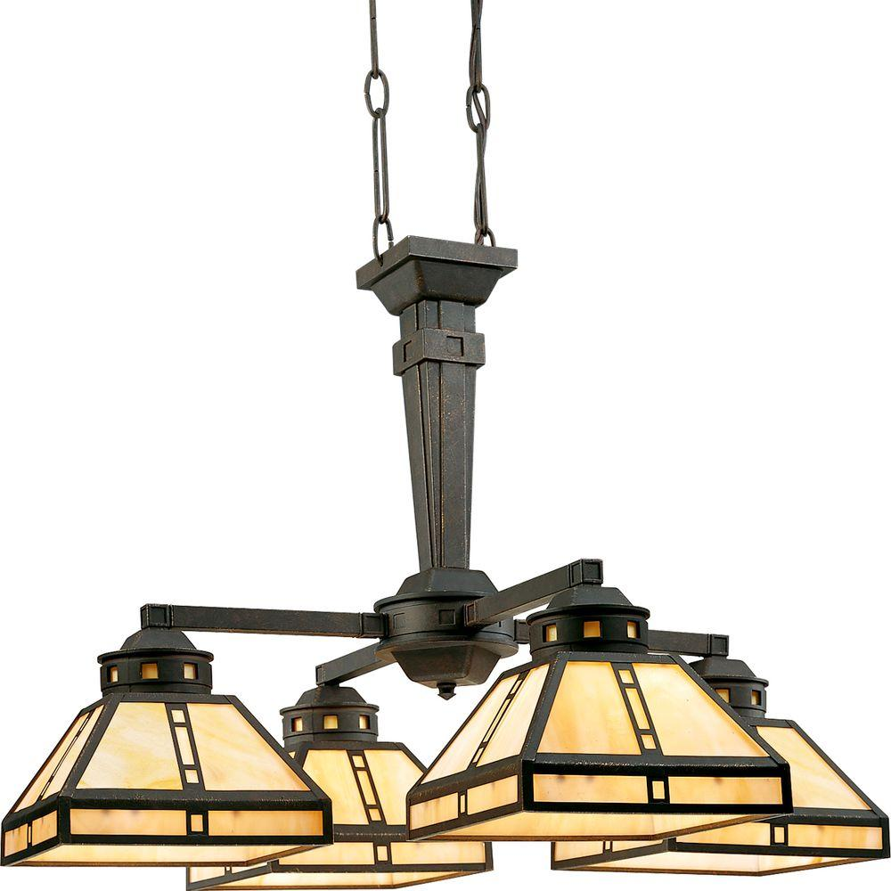Progress Lighting Arts and Crafts Collection 4-Light Weathered Bronze Chandelier