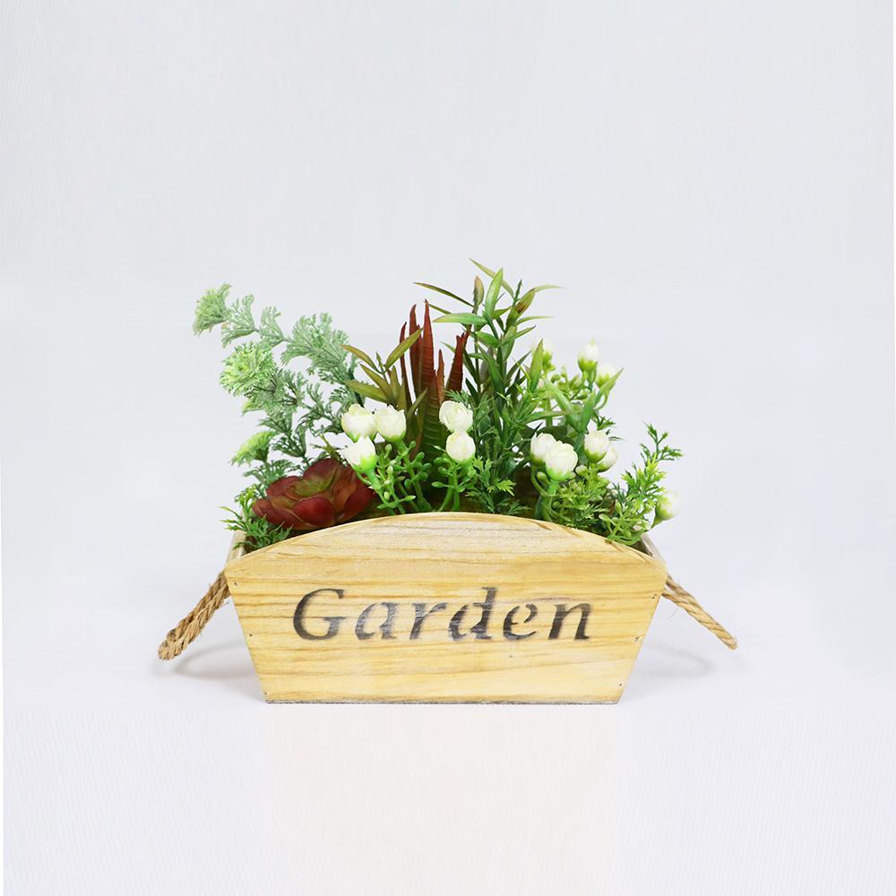 9 in. Indoor Artificial Flower and Succulent Arrangement in Planter