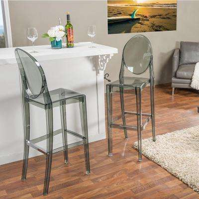 Baxton Studio Alvie Gray Finished Plastic 2-Piece Bar Stool Set by Bar Stool Sets