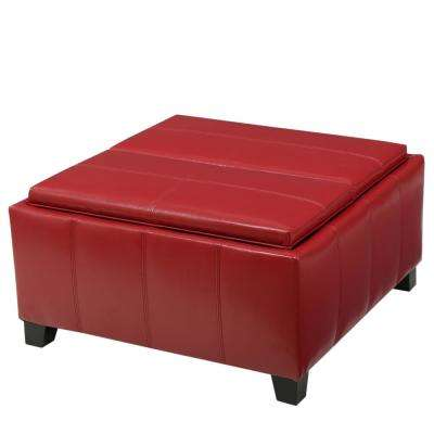 Mansfield Red PU Leather Tray Top Storage Ottoman