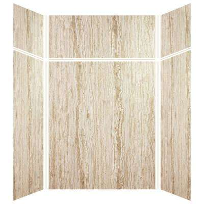 Expressions 42 in. x 60 in. x 96 in. 4-Piece Easy Up Adhesive Alcove Shower Wall Surround in Sorento