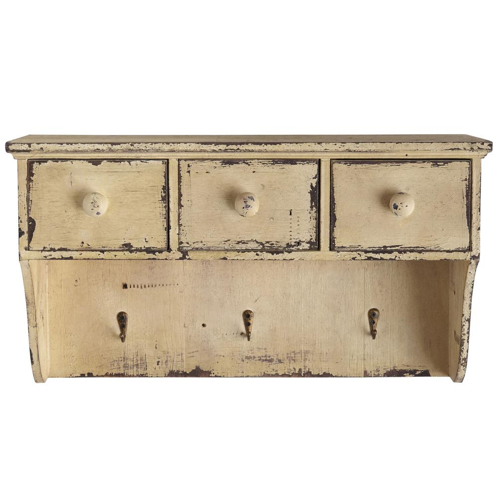 Distressed Wooden Shelf With Drawers And Hooks