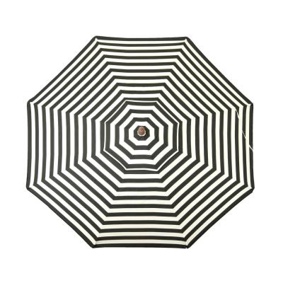 9 ft. Wooden Market Patio Umbrella in Black and White Stripes