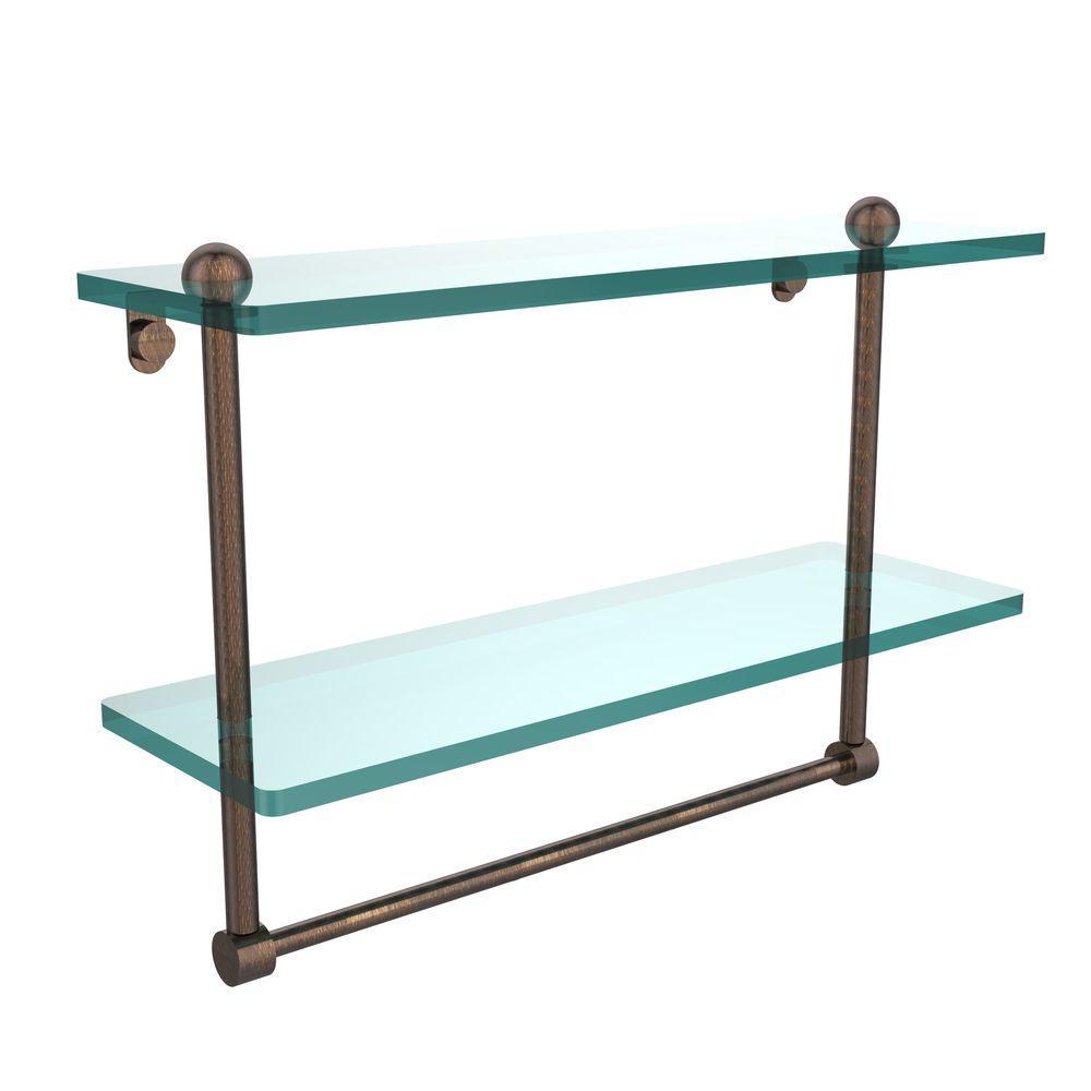 16 in. L  x 12 in. H  x 5 in. W 2-Tier Clear Glass Bathroom Shelf with Towel Bar in Venetian Bronze