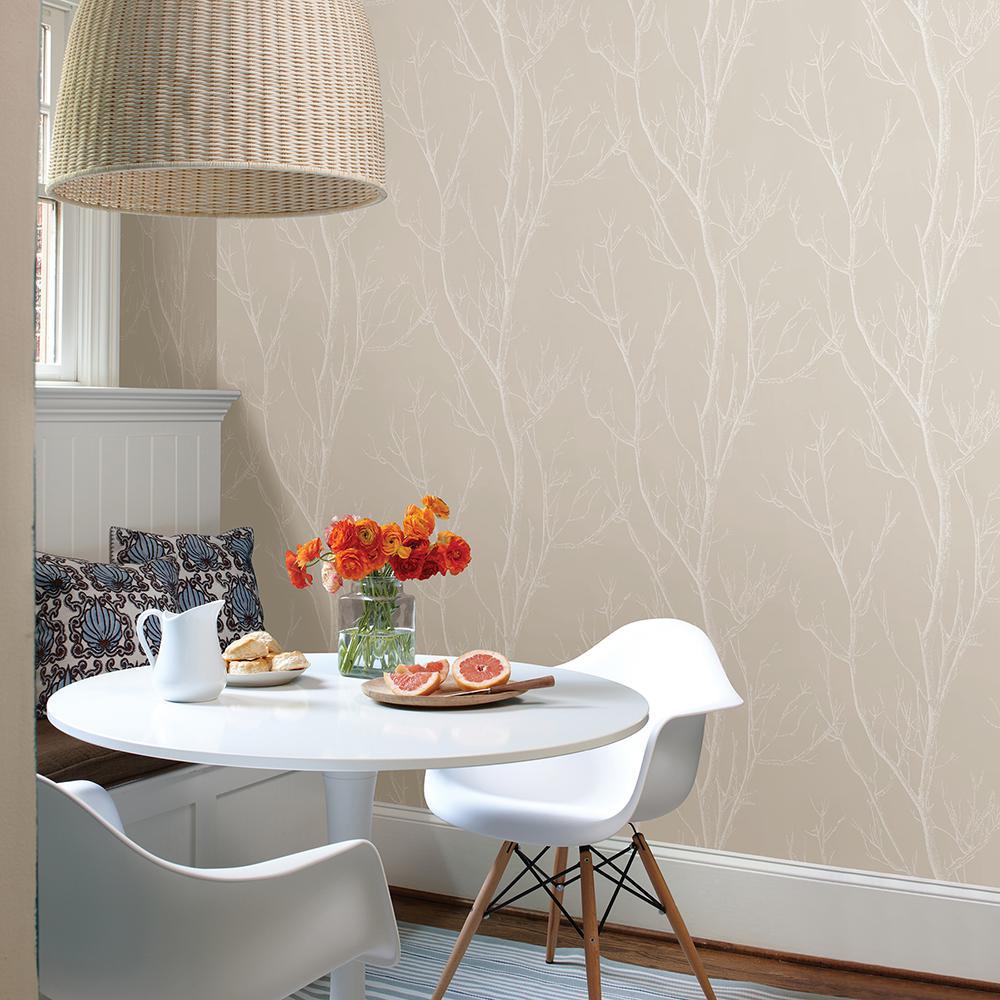 56.4 sq. ft. Laelia Beige Silhouette Tree Wallpaper
