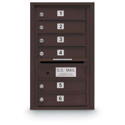 6-Door Standard 4C Mailbox in Bronze
