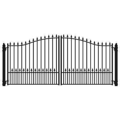 Munich Style 16 ft. x 6 ft. Black Steel Dual Driveway Fence Gate