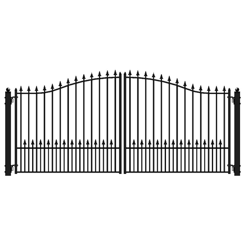 Munich Style 16 ft. x 6 ft. Black Steel Dual Driveway Fence Gate