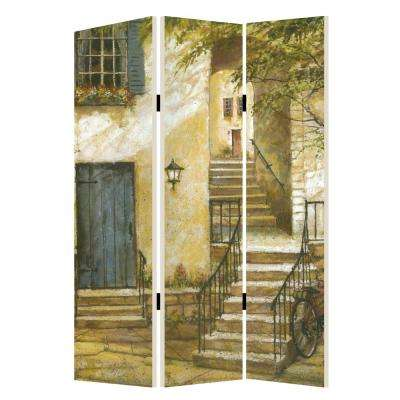 European Promenade 6 ft. Multi-color 3-Panel Room Divider