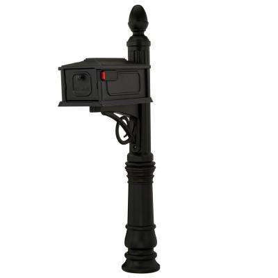 Stratford Decorative Plastic Mailbox Post Combination, Black