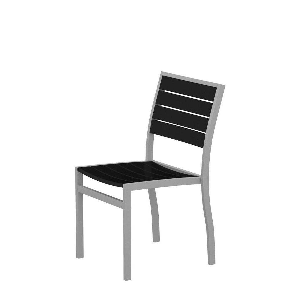Euro Textured Silver Plastic Outdoor Patio Dining Side Chair with Black